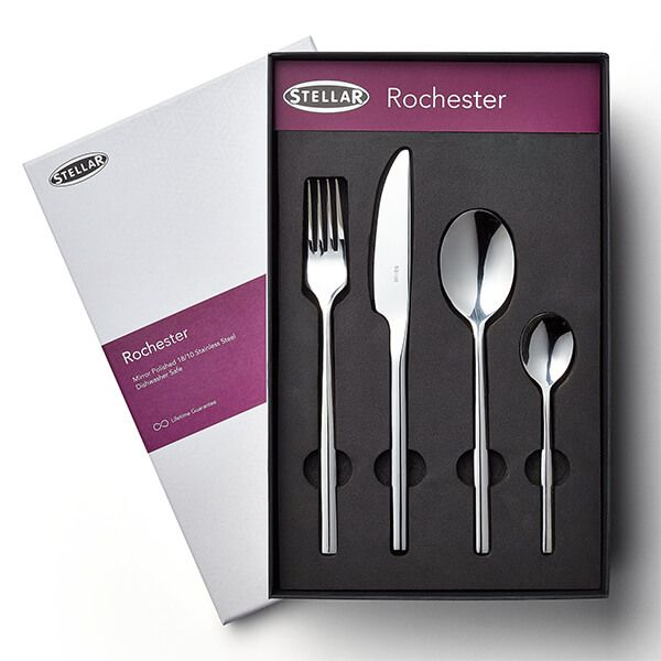 Stellar Rochester Polished 16 Piece Cutlery Gift Box Set