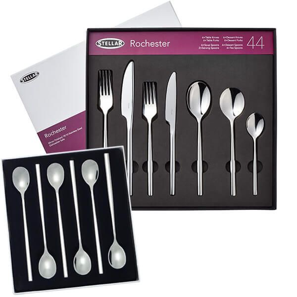 Stellar Rochester Polished 44 Piece Cutlery Gift Box Set with FREE Gift