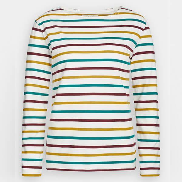Seasalt Sailor Shirt Tri Breton Chalk Dark Hay Size 10