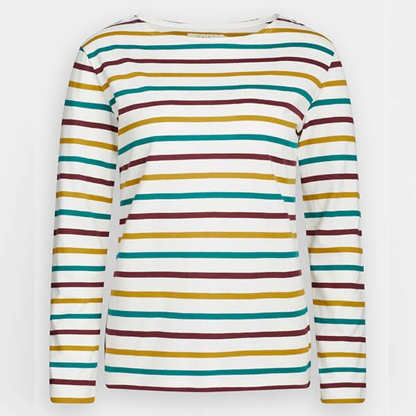 Seasalt Sailor Shirt Tri Breton Chalk Dark Hay Size 14