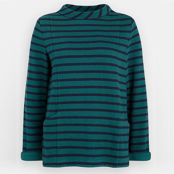 Seasalt Bareroot Sweatshirt Breton Deep Sea Dark Night Size 12