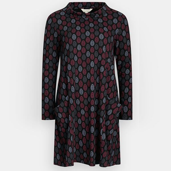 Seasalt Sea Oak Dress Printed Leaf Black