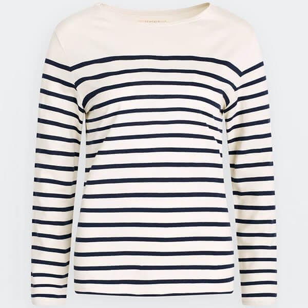 Seasalt Sailor Shirt Falmouth Breton Chalk Midnight Size 12
