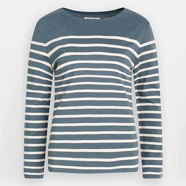 Seasalt Sailor Shirt Falmouth Breton Nickel Chalk Size 8