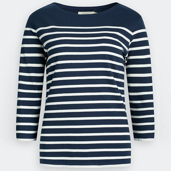 Seasalt Sailor Shirt Falmouth Breton Midnight Chalk Size 14