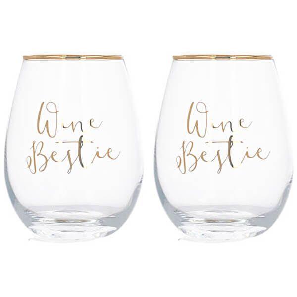 Ava & I Wine Bestie Set Of 2 Stemless Glasses