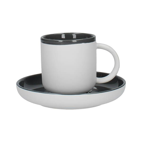 La Cafetiere Barcelona 130ml Espresso Cup & Saucer Cool Grey