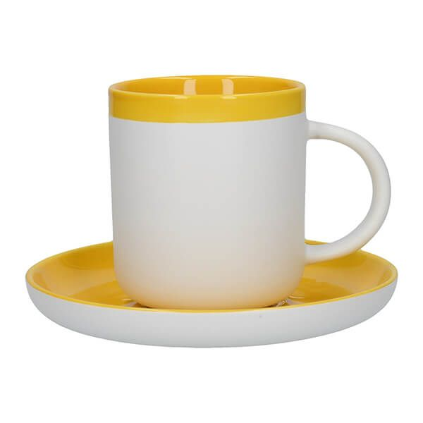 La Cafetiere Barcelona 300ml Coffee Cup & Saucer Mustard