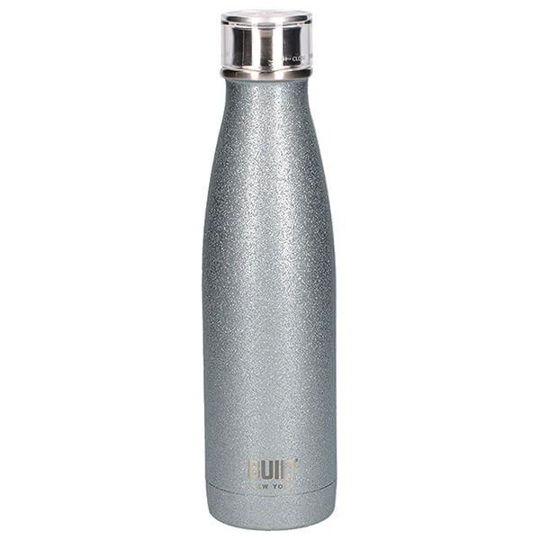 Built 500ml Double Walled Stainless Steel Water Bottle Silver Glitter