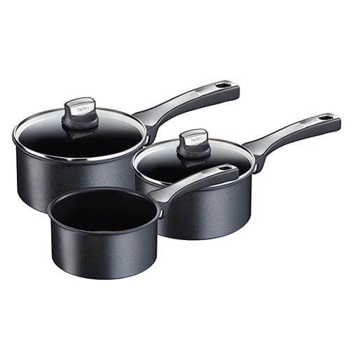 tefal expertise 3 piece saucepan set with lids