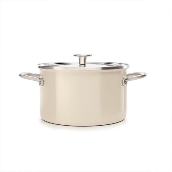 KitchenAid Steel Core Enamel Almond Cream 20cm Casserole with Lid