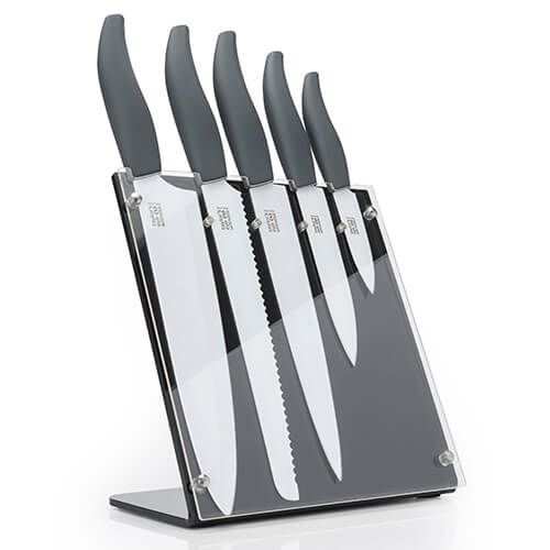 Taylors Eye Witness Soft Grip Cool Grey / White 5 Piece Upright Knife Block Set