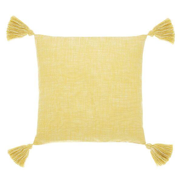 Walton & Co Saffron Chambray Tassel Poly Fill Cushion