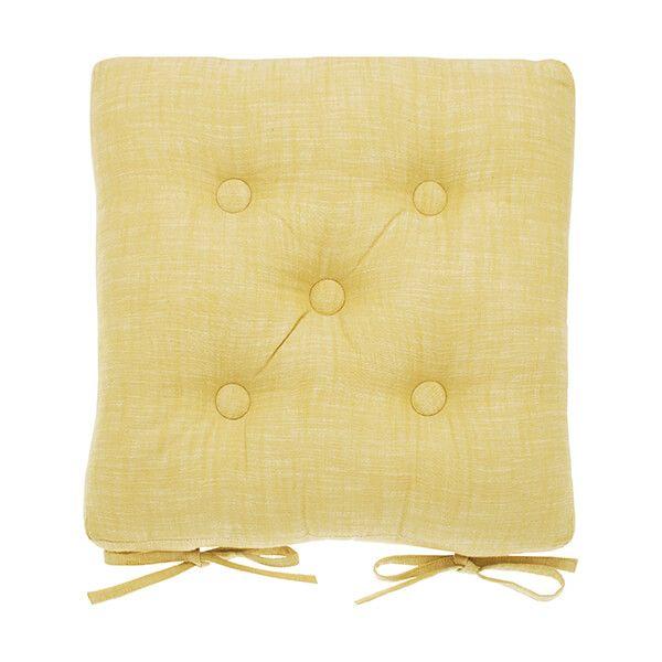Walton & Co Saffron Chambray Seat Pad With Ties