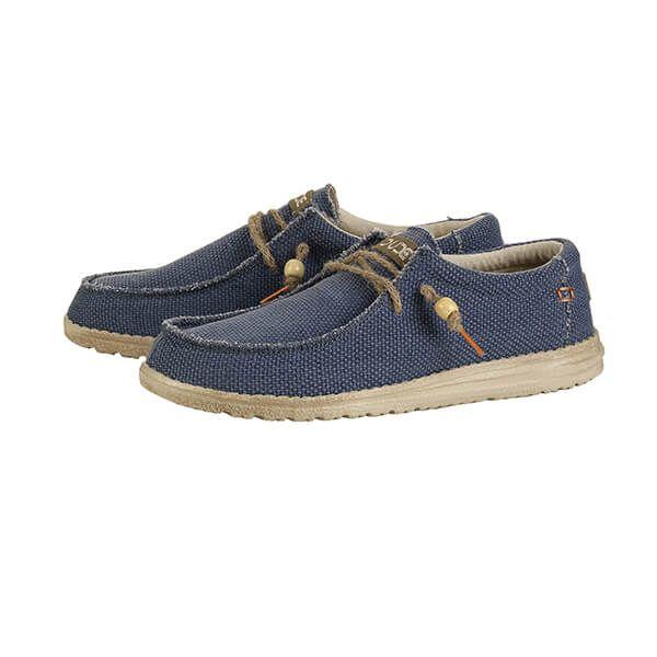 Dude Shoes Wally Natural Navy Organic Cotton Size UK8 / EU42