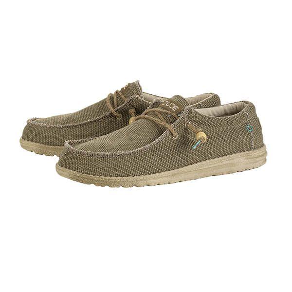 Dude Shoes Wally Natural Sage Organic Cotton Size UK8 / EU42