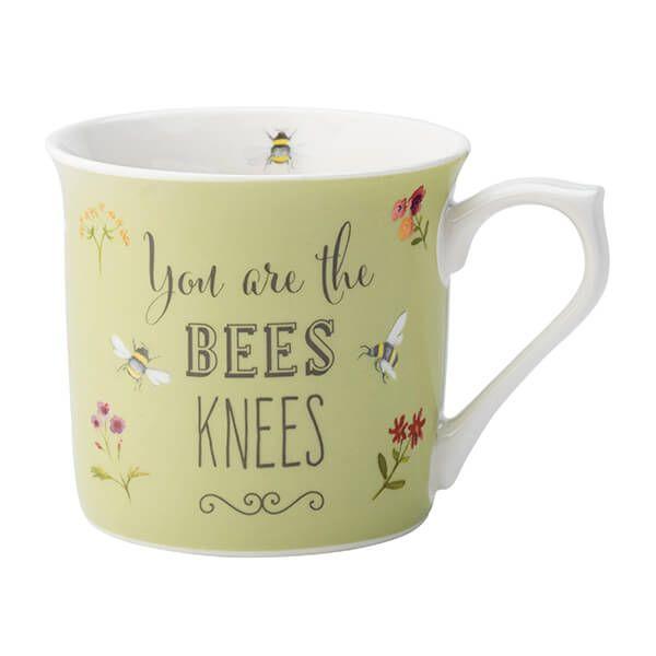 English Tableware Company Bee Happy 'You Are the Bees Knees' Green Fine China Mug