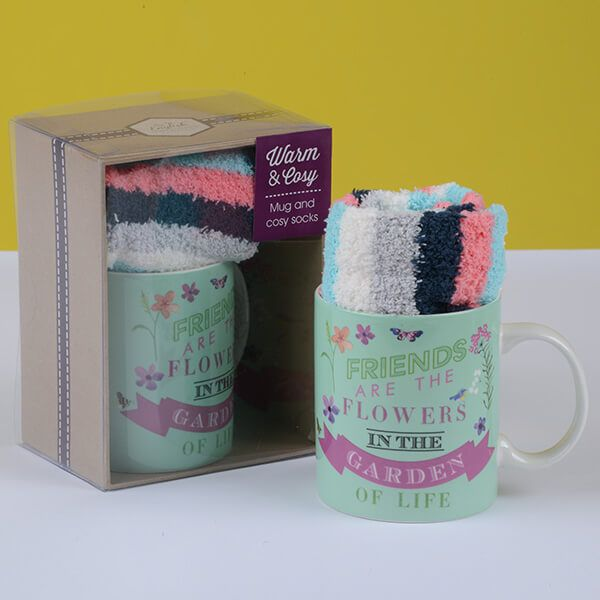 English Tableware Company Friends Are The Flowers In The Garden Of Life Mug & Sock Set