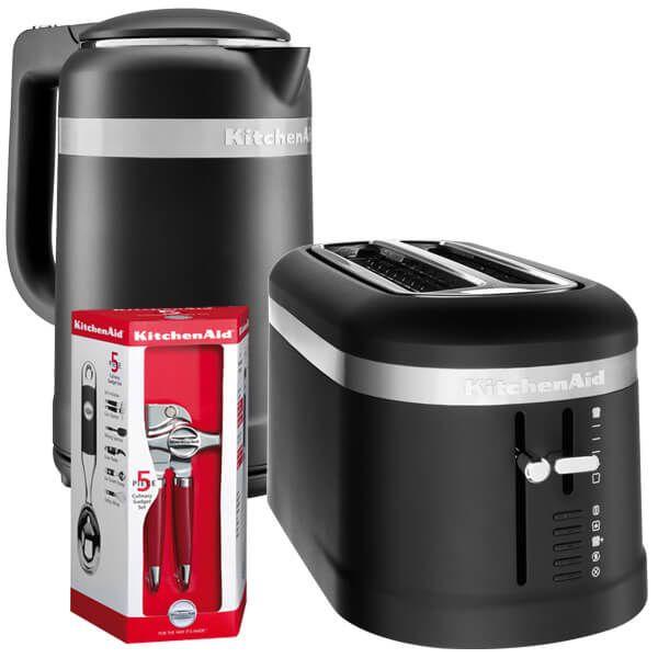 KitchenAid Matte Black 2 Slot Design Toaster and 1.5 Litre Kettle Set