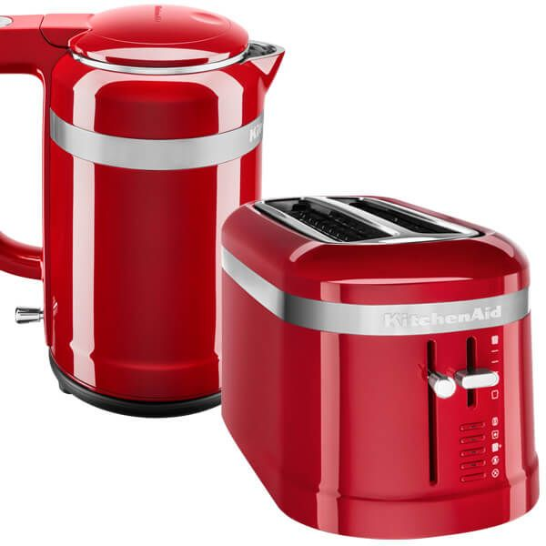 KitchenAid Empire Red 2 Slot Design Toaster and 1.5 Litre Kettle Set