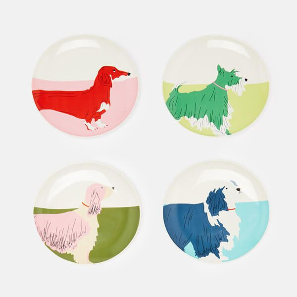 Joules Dog Plates Set Of 4