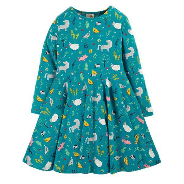 Frugi Organic Farmyard Sofia Skater Dress Size 3-4 Years