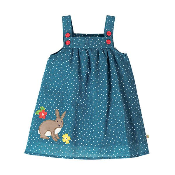 Frugi Organic Hallie Linen Dress Steely Blue Scatter Spot/Bunny