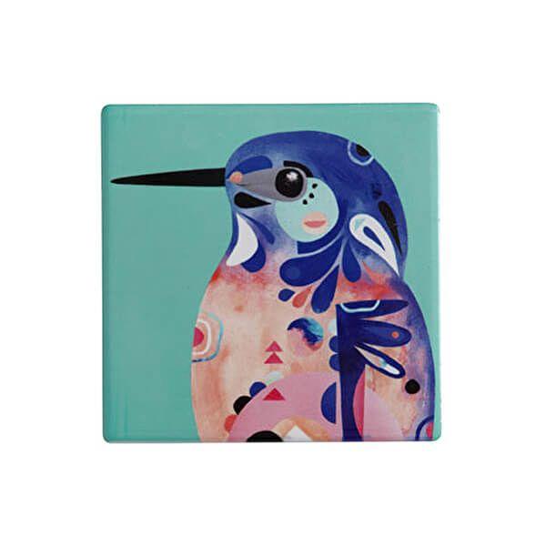 Maxwell & Williams Pete Cromer Ceramic Square 9.5cm Coaster Kingfisher