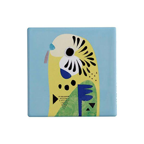 Maxwell & Williams Pete Cromer Ceramic Square 9.5cm Coaster Budgerigar