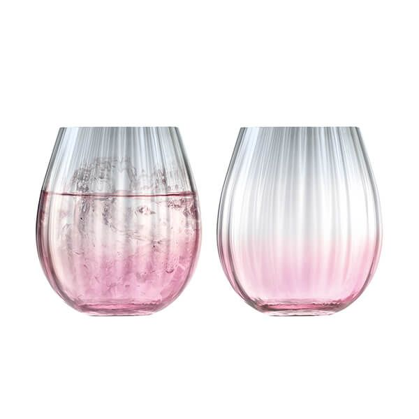LSA Dusk Tumbler 425ml Pink & Grey Set Of Two