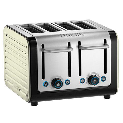 Dualit Architect 4 Slot Black Body With Canvas White Panel Toaster