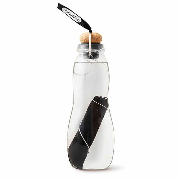 Black + Blum Eau Good Glass Charcoal Filter Water Bottle Black