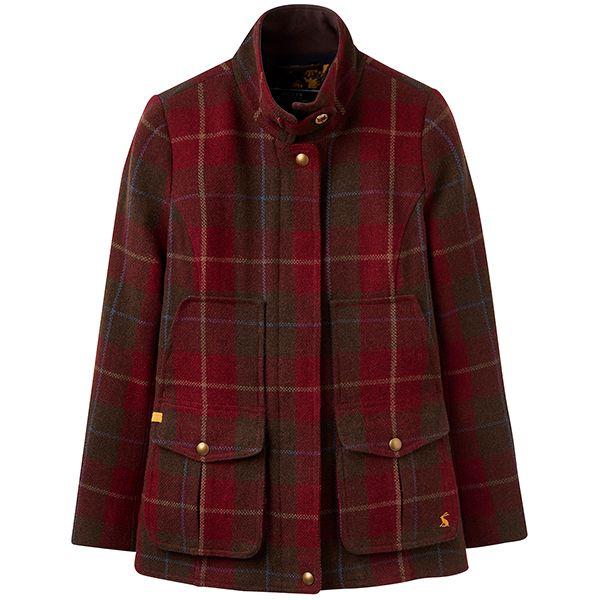 Joules Fieldcoat Tweed Coat Red Check