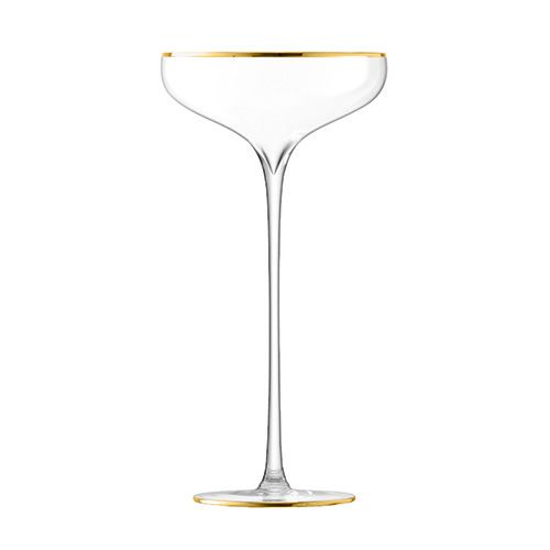LSA Celebrate Gold Champagne Saucer 250ml Set Of 2