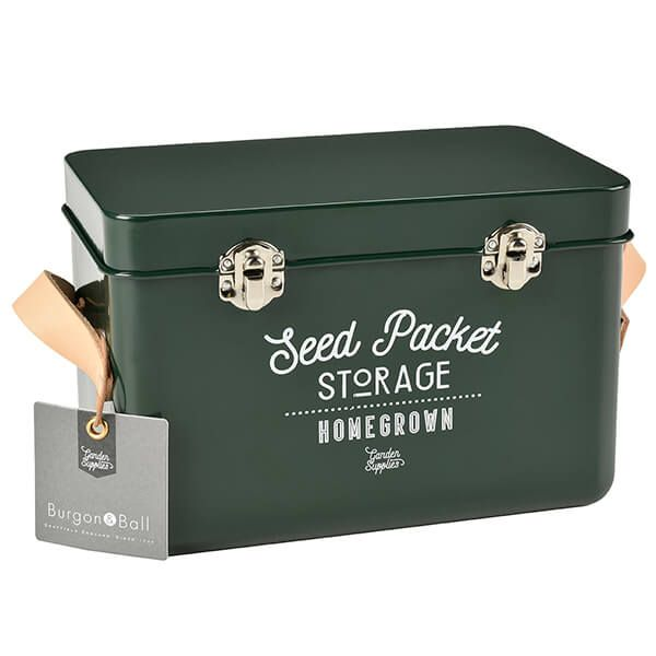Burgon & Ball Leather Handled Seed Packets Storage Tin - Frog