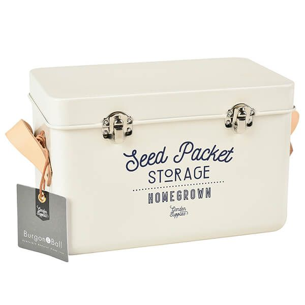 Burgon & Ball Leather Handled Seed Packets Storage Tin - Stone