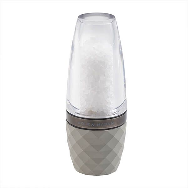Cole & Mason Precision+ Stemless City Concrete Clear Salt Mill with Gunmetal Band