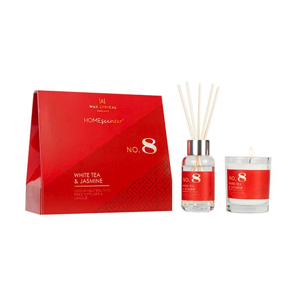 Wax Lyrical Homescenter White Tea & Jasmine Candle & Reed Diffuser Gift Set