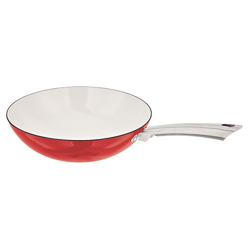 Stellar Easy Lift Cast Iron 32cm Wok Red