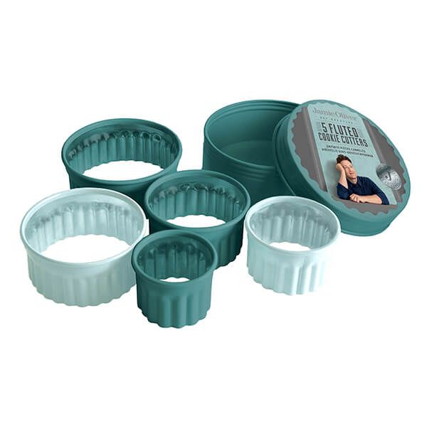 Jamie Oliver Set of 5 Atlantic Green Fluted Cookie Cutters