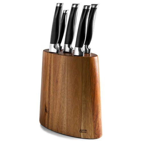 Jamie Oliver Five Piece Acacia Knife Block Set