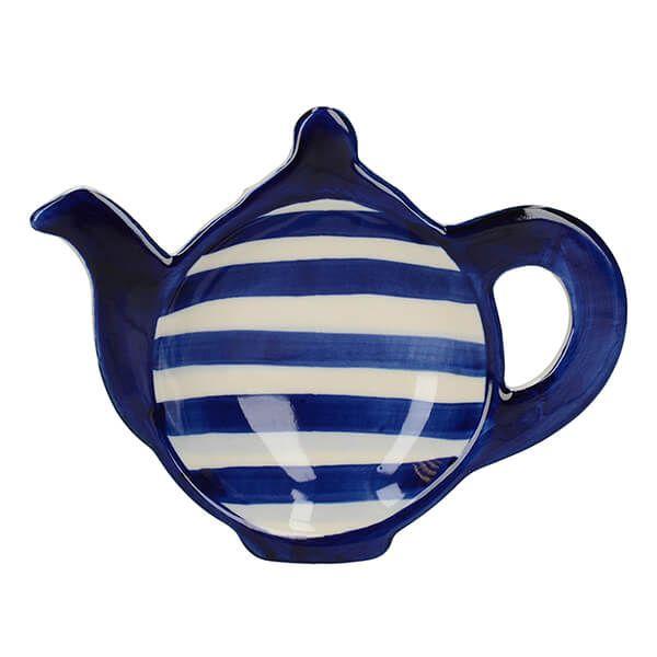 London Pottery Tea Bag Tidy Blue Bands