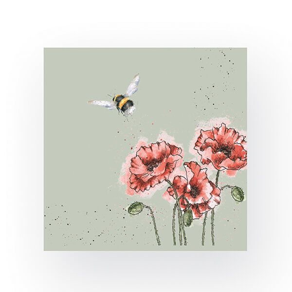 Wrendale Designs Pack of 20 Cocktail Size 'Flight of the Bumble Bee' Bee Napkins