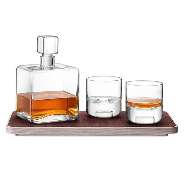 LSA Cask Whisky Connoisseur Set Clear & Ash/Cork Tray