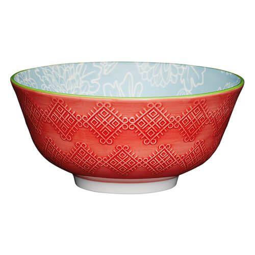 KitchenCraft Glazed Stoneware Bowl Grey Floral