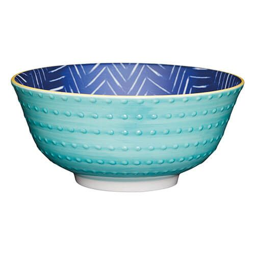 KitchenCraft Glazed Stoneware Bowl Leafy Indigo