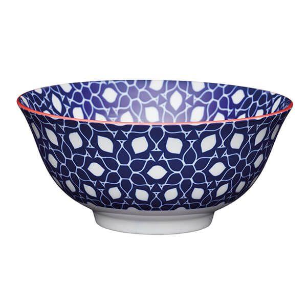 KitchenCraft Blue Floral Geometric Print 15.7cm Ceramic Bowl