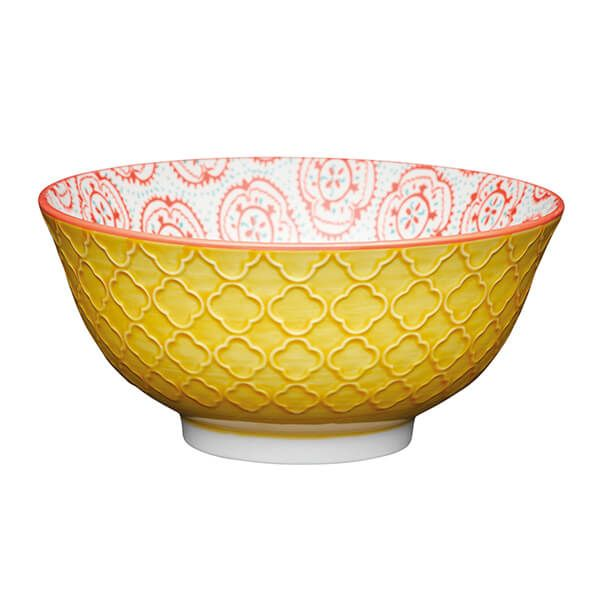 KitchenCraft Bright Yellow Floral 15.7cm Ceramic Bowl
