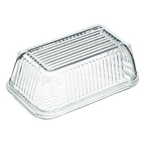 Kilner Butter Dish With Lid Embossed Glass Vintage Kitchen Storage Tray Holder
