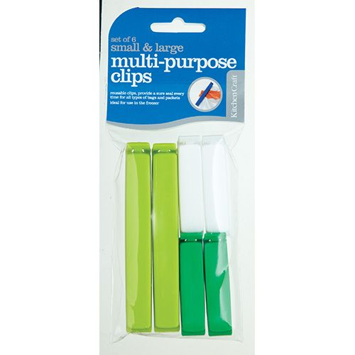 KitchenCraft Set of Six Assorted Sized Bag Clips